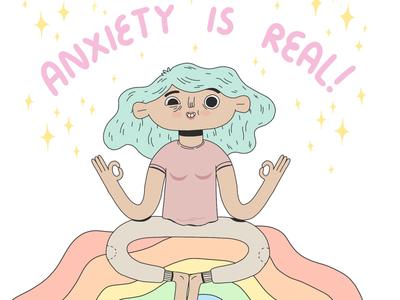 Anxiety is real! stress rainbow illustration anxiety positivity good vibes meditation