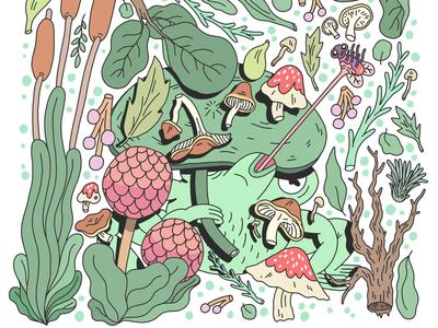 You can't hide, Frog Boy. plants art drawing illustration plant frog