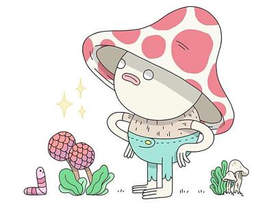 Mushroom Boy worm plants art cute drawing character design illustration magical mushroom magic mushroom