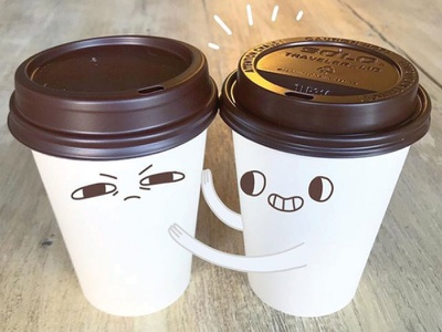 2-Cup Kinda Morning fun cute art drawing character design character morning coffee cup illustration coffee