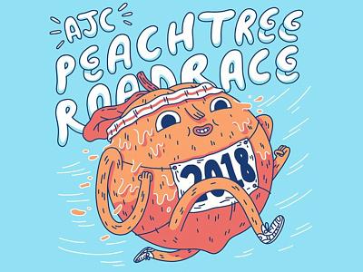 Peachtree Road Race peachtree design shirt t shirt t-shirt ga atlanta atl peach illustration running race