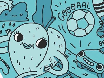Peach WIP soccer goal atlanta character design drawing cute illustration