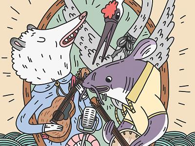 Animal Band poster design poster show music crane catfish possum adobedraw drawing illustration animals