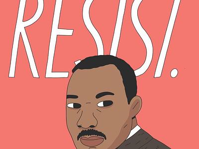 RESIST mlk portrait illustration