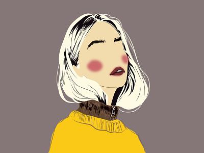 The girl in yellow yellow girl in yellow beauty girl girl portrait beautiful design art beauty hello dribble fashion vector newplayer illustration
