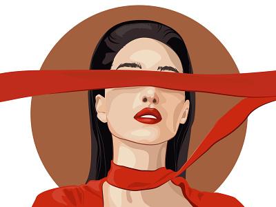 Red ribbon идентичность close eye icon newplayer hello dribble vector style girl illustration fashion иллюстратор моды иллюстрация girl band illustration design art design