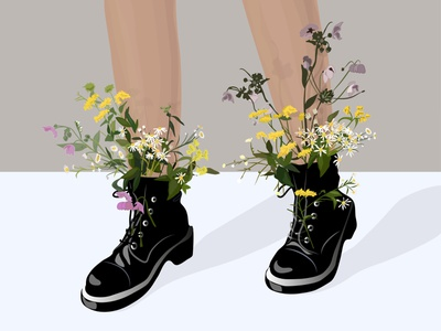 Flowers in boots legs flower jackboot shoes boots flowers boy beauty hello dribble fashion vector newplayer illustration design art design