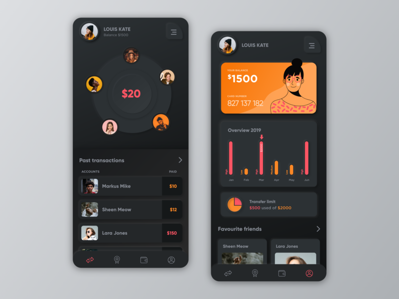 Neumorphism - Payments app - Mobile UI orange minimal money shadow iphone app mobile payment finance app payment app black dark ui dark concept mobile ui neumorphic neumorphism illustration uiux ui