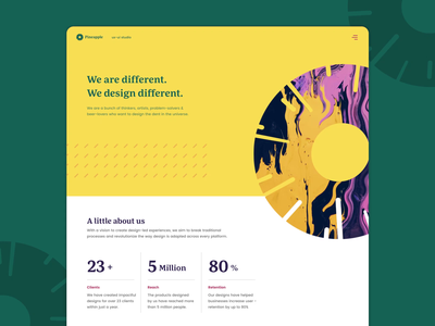 Pineapple Studio - About Us Page mobile ui web design designer vector branding app typography uiuxdesign website design design studio about us website web motion design motion animation design uxui ui