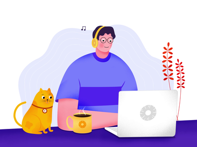 Pineapple Illustration covid19 wfh working cat vector illustrator agency branding animation interaction illustration art illustration design design studio designs motion motion design design illustration uxui ui