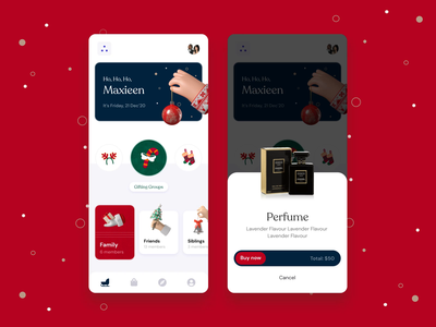 Giftmas - A Christmas gifting app! inspirations 3d illustration c4d ux mobile app gift ui design mobile app 3d animation 3d christmas inspiration motion motion design animation design uxui uiux ui