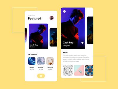 Find an artist - App UX/UI design uiux interface minimal creative uidesign artists mobile daily ui mobile ui ui design artist ux app design inspiration app interaction motion design motion animation ui
