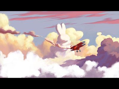 white rabbit flying