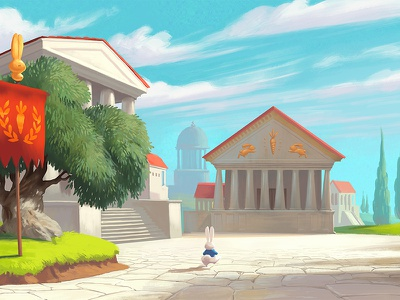 The white Rabbit travels to Rome game art animation concept art