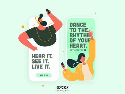 🎶 Music App   Onboarding UI Screen design orcas india app music app illustration ui  ux uidesign app design uxdesign ui uiux