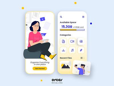 📂File manager App   UI Screen orcas india file management app illustration app ui  ux app design uxdesign ui uiux uidesign