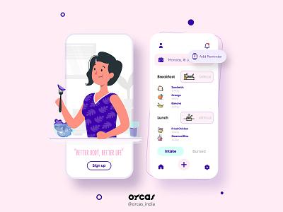 🥗 Calorie Tracker app | UI design orcas india illustration app design ui  ux app design ui uxdesign uidesign uiux
