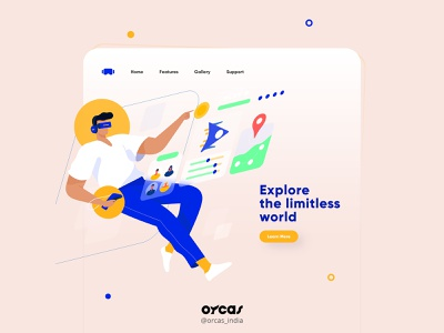 🕹️ VR landing page | UI Design virtual reality vr page orcas india illustration app ui  ux app design uxdesign ui uiux uidesign