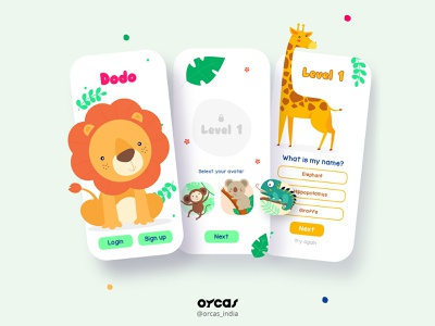 🦁 Kindergarten Quiz app   UI Design orcas india illustration app ui  ux app design uxdesign ui uiux uidesign