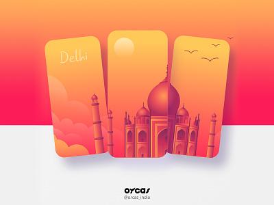 🗽Travel app   Onboarding UI UX design app ui  ux app design orcas india illustration uxdesign ui uiux uidesign taj mahal new delhi travel app ui travel app