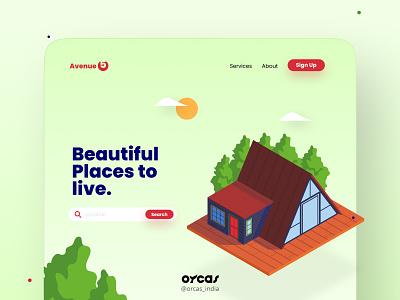 🏡 Real Estate Landing page | UI UX web application design web design web ui orcas india application illustration ui  ux uxdesign ui uiux uidesign real estate