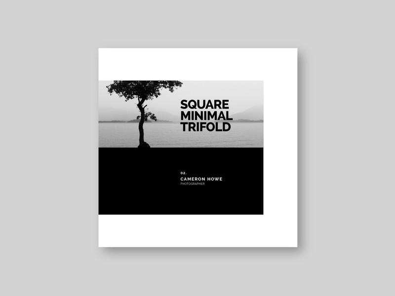 Square Minimal Photography Trifold print editorial white cool design trifold brochure minimal download modern