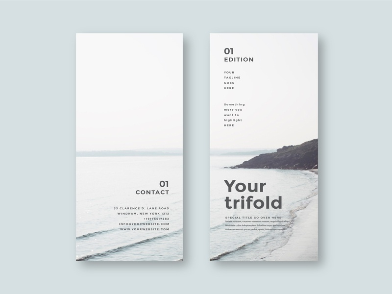 Simple Minimal Trifold print cool trifold design brochure minimal modern download