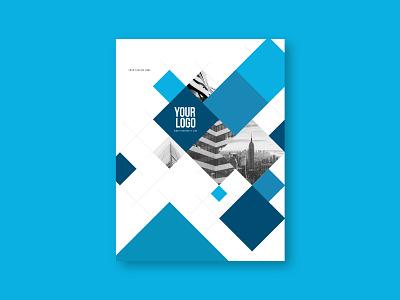 Modern Blue Squares Stationery pattern blue print design stationery branding modern minimal template