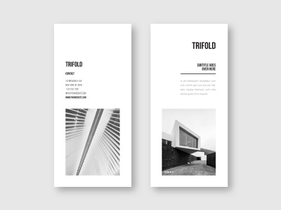 Minimal Black & White Architecture Trifold print cool trifold branding download brochure modern design minimal