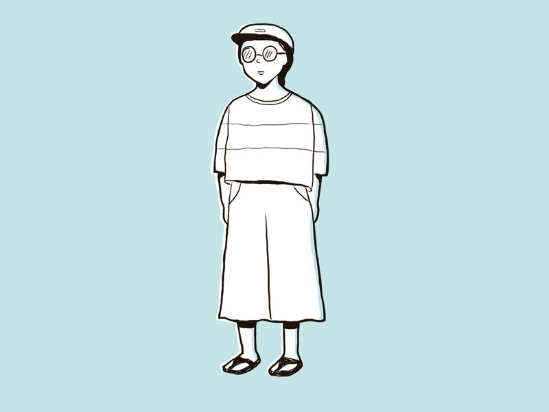 Yuli's self-portrait portrait design minimal illustration character hand drawn procreate