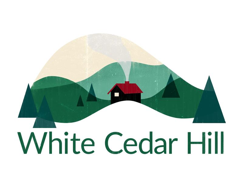 White Cedar Hill Logo rustic cottage minimal illustraion texture vintage branding design logo