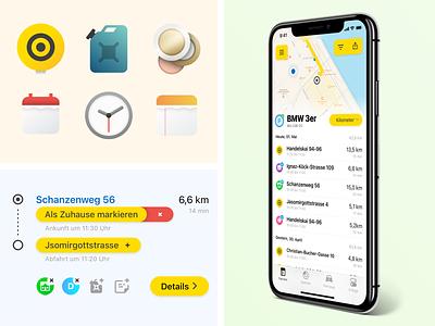 Smart Connect Bento Box interface icons car vector illustration design app iphone ios