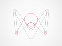 RE logo grey pink process wireframe