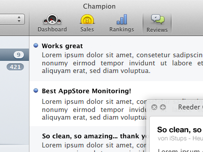 Champion: Reworked  mac app ios store monitoring ranking sale dashboard appstore iphone ipad android icons hig