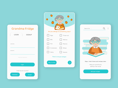 Grandma Fridge App mobile app mobile cookbook app mobile ui ui