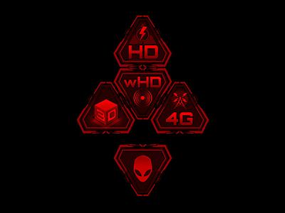 Alienware Ultimate Gaming Pyramid Branding aliens alienware future tech interface icons branding computers