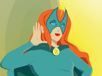 The Golden Ear Female superhero characters illustration superheroes