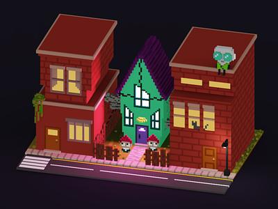 Invader Zim House illustration childhood voxelart voxels magicavoxel voxel art design 3d art 3d