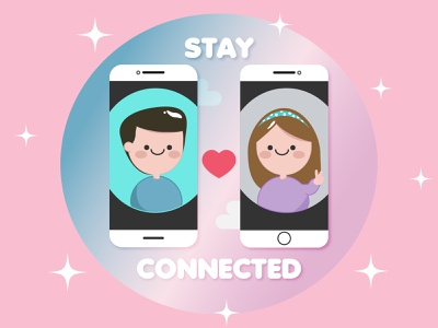 Stay connected with your loved ones. simple illustration stay home quarantine vectors vector illustrator illustration graphic design design