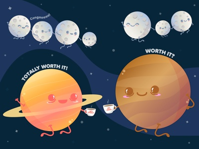 Happy Father's Day with Saturn and Jupiter! 🔭 cute art cute illustration planets vector illustration vector art vector kawaii art kawaii illustration art illustration fathers day design