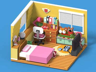 Cardcaptor Sakura's Room. sakura anime voxel art kawaii design 3d art 3d