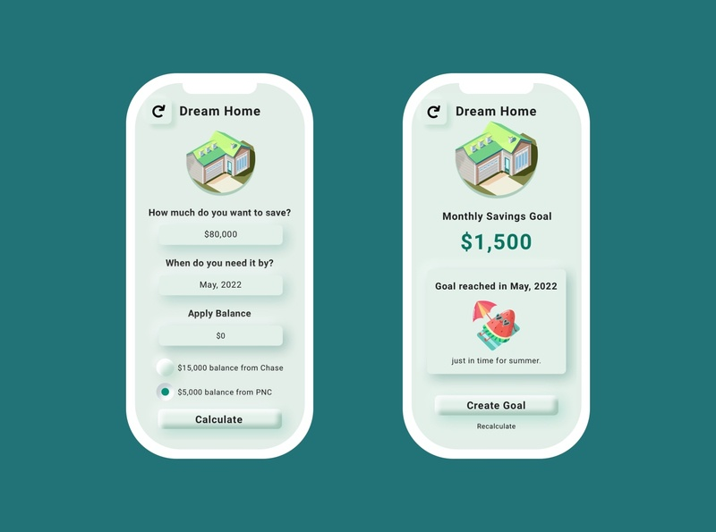 Daily UI 004 - Home Savings Calculator budget app mobile ui budget finance app finance fintech app challenge calculator dream home fintech neumorphism neumorphic skeumorphic branding ux design ui dailyui 100daysofui