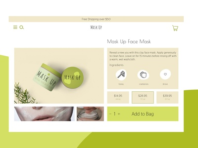 Daily UI 12 - Beauty Product Page natural organic ecommerce product page e-commerce face mask beauty product mockup daily ui 012 daily ui 12 branding ux uiux ui userexperience daily ui design daily 100 challenge dailyui 100daysofui