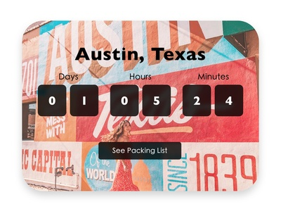 Daily UI 014 - Vacation Timer daily 014 daily ui challenge texas austin vacation timer vacation countdown timer countdowntimer daily ui 14 daily ui 014 countdown ux ui uiux userexperience daily ui design daily 100 challenge dailyui 100daysofui