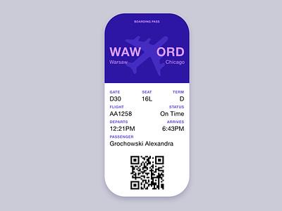 Daily UI 024 - Boarding Pass daily ui 024 daily ui 24 flying airplane pass boarding pass daily ui challenge ux uiux ui userexperience daily ui design daily 100 challenge dailyui 100daysofui