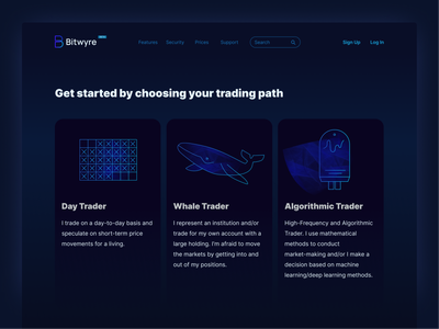 Bitwyre trading path persona options freelance designer cards ui dark ui trading landing page cryptocurrency exchange cryptocurrency app blockchain cryptocurrency bitwyre brand illustration ui web illustration