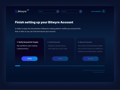 Bitwyre account set-up progress bar trading gradient button account settings account steps freelance designer mobile desktop problem solving process cryptocurrency exchange cryptocurrency app cryptocurrency setup dark ui blockchain bitwyre ui web