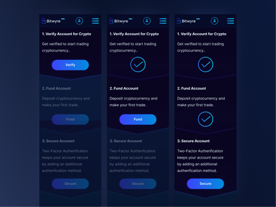 Bitwyre account set-up on mobile blockchain ux  ui process account gradient button success mobile ui mobile setup cryptocurrency exchange dark ui crypto bitwyre ui web