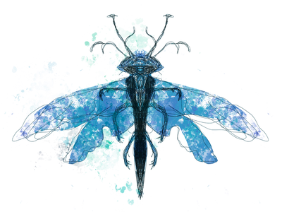 Blue surreal insect spraypaint weird drawing surreal personal project freelance illustrator procreate digitalart symmetry imagination fantasy insect nature illustration