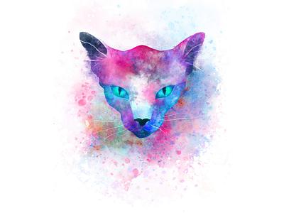 Psychedelic cat spooky freelance illustrator splatter animal fantasy vibrant animated animated illustration psychedelic cat fresco aftereffects digitalart symmetry illustration